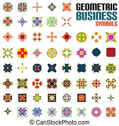 resumen, conjunto, forma geométrica, iconos
