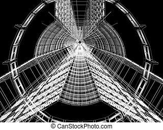 resumen, construcción, arquitectónico, 3d