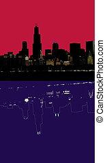 resumen, contorno, chicago