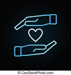 resumen corazón, colorido, señal, vector, manos, o, icono