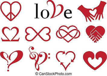resumen, corazón, diseños, vector, conjunto