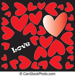 resumen, corazones, con, amor