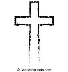 resumen, cristiano, cruz, negro, en, mano, dibujado, estilo