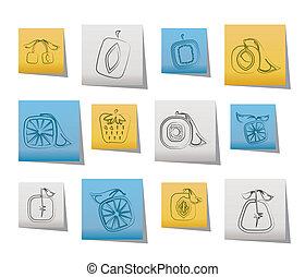 resumen, cuadrado, fruta, iconos