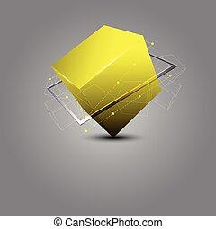 resumen, cubo, ciencia, concepto