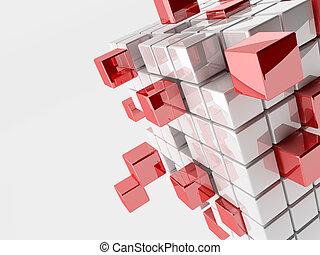 resumen, cubos, ilustración, 3d