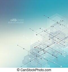 resumen, cubos, transparente, plano de fondo