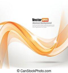 resumen, curva, ilustración, onda, 003, ligth, vector, plano de fondo, naranja, elemento
