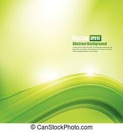 resumen, curva, ilustración, onda, ligth, vector, fondo verde, elemento