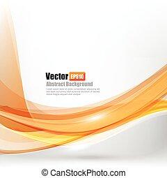 resumen, curva, ilustración, onda, ligth, vector, plano de fondo, 004, naranja, elemento