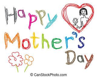 resumen, día, colorido, madres