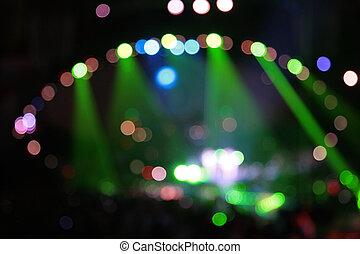 resumen, defocused, color, proyectores, en, concierto