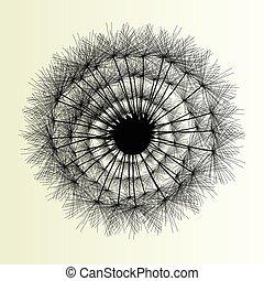 resumen, diente de león, plano de fondo, vector, ilustración, primavera