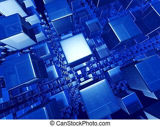 resumen, dinámico, cubo, plano de fondo