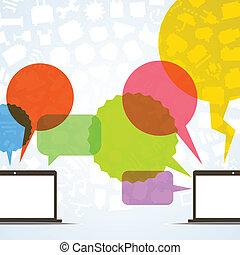 resumen, discurso, nubes, y, dos, conectado, computadoras