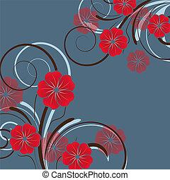 resumen, diseño floral, con, flores
