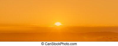 resumen, dorado, salida del sol