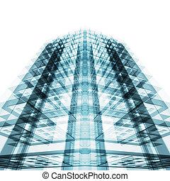 resumen, edificio, concept., 3d, interpretación