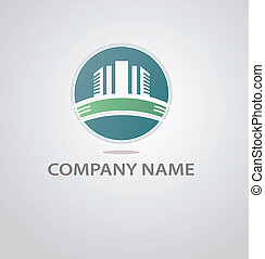 resumen, edificio, logotipo, arquitectura, silueta