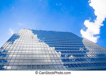 resumen, edificio., vidrio azul, pared, de, rascacielos