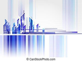 resumen, edificio, y, ciudad, ilustración