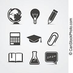 resumen, educación, estilo, set., iconos