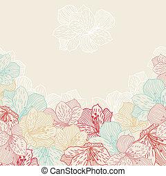 resumen, elegancia, seamless, flor, plano de fondo, con,...