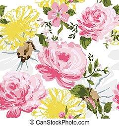 resumen, elegancia, seamless, patrón, con, floral, plano de fondo