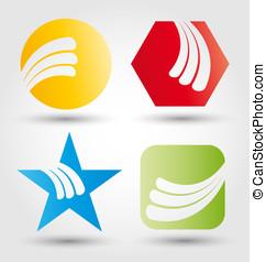 resumen, empresa / negocio, icono, conjunto