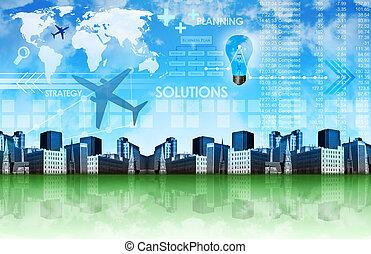 resumen, empresa / negocio, plano de fondo, con, ciudad