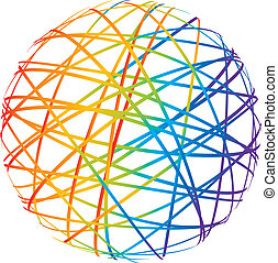 resumen, esfera, de, color, líneas