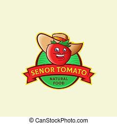 resumen, español, logotipo, cara sonriente, template., divertido, señal, retro, vegetal, alimento, símbolo, senor, hat., hombre, tomate, natural, tipografía, emblem., vector, bigote, o