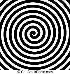 resumen, espiral, theme., hipnosis, vector, negro, white., plano de fondo, elemento del diseño