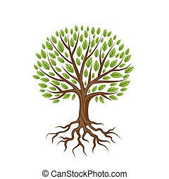 resumen, estilizado, árbol, con, raíces, y, leaves.,...