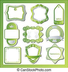 resumen, etiquetas, verde, conjunto