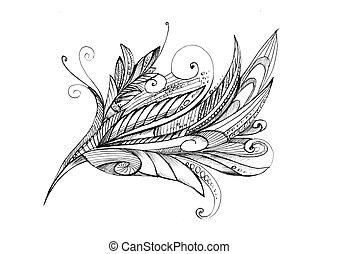 resumen, excepcional, dibujo a lápiz, flor
