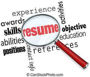 resumen, experiencia, vidrio, trabajo, aplicar, documento, ...