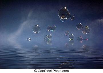 resumen, fantasmal, oscuridad, burbuja, plano de fondo