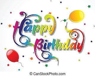 resumen, feliz cumpleaños, tarjeta, vector