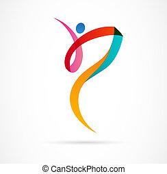 resumen, figura humana, logotipo, design., gimnasio, condición física, corriente, entrenador, vector, colorido, logo., activo, condición física, deporte, baile, tela, icono, y, símbolo