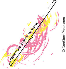 resumen, flauta, ilustración