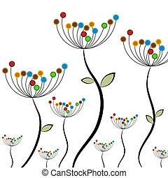 resumen, flor, campo