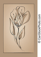 resumen, flor, en, un, beige, fondo., imitación, dibujo de tinta