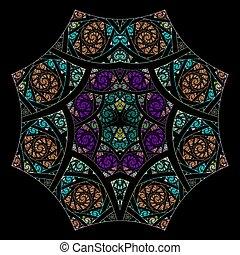 resumen, flor, fractal, geometría, arte, pauta fondo