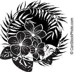 resumen, flor, grunge, plano de fondo