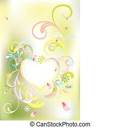 resumen, floral, corazón, tarjeta