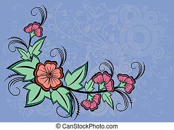 resumen, floral, esquina