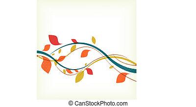 resumen, floral, otoño, plano de fondo