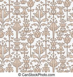 resumen, floral, seamless, patrón, con, aves