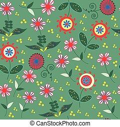 resumen, floral, seamless, patrón, con, lindo, flores coloridas, y